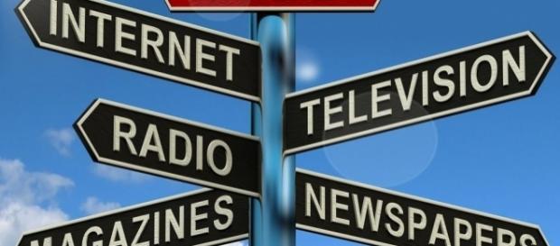 Internet, television, radio, magazines, newspaper via Wikimedia Commons