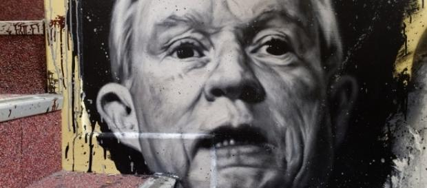 Mural painting of Attorney General Jeff Sessions. / [Image by Thierry Ehrmann via Flickr, CC BY 2.0]