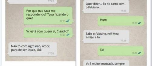 Conversa de marido e mulher pelo Whatsapp. ( Foto: Reprodução)