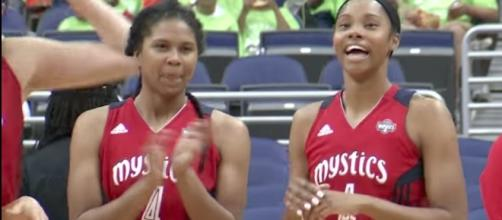 The Washington Mystics came back from down 21 points to win by four in overtime over the Atlanta Dream. [Image via WNBA/YouTube]
