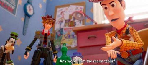 Woody, Buzz, and the whole gang of Toy Story will help Sora, Goofy, and Mickey. [PlayStation/Youtube Screenshot]