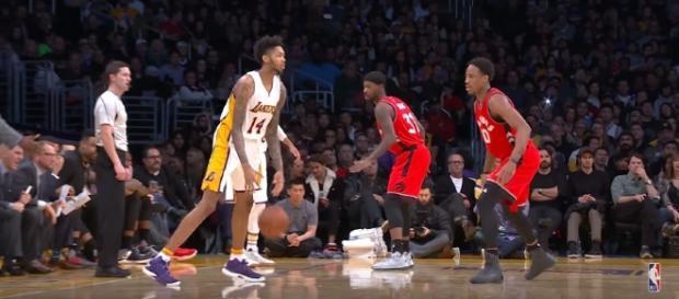 Brandon Ingram dribbles the ball against the Toronto Raptors. Photo - YouTube Screenshot/@NBA