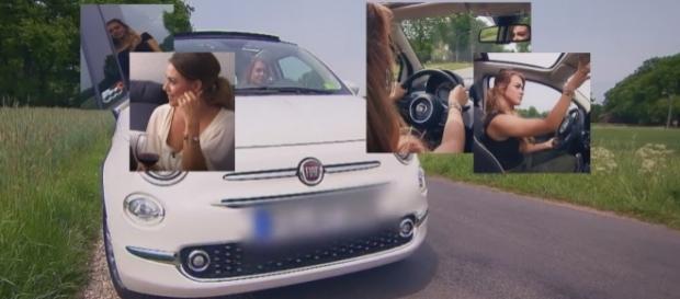 """Erst Wein trinken, dann Fiat 500 fahren - unglückliche Produktplatzierung bei """"Die Bachelorette"""" am 19. Juli 2017/Fotos: MG RTL via TVNow"""