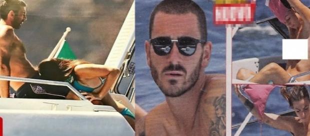 Gianluigi Buffon e Ilaria D'Amico ripresi in un momento particolare, a destra il topless di lady Bonucci