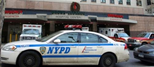 A photo showing an NYPD patrol car in front of the Bronx-Lebanon Hospital Center where the shooting took place - Flickr/jag9889