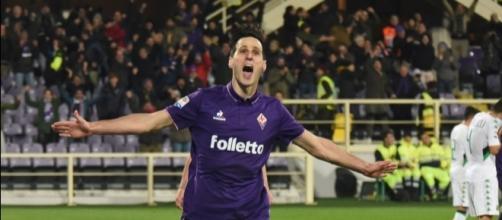L'esultanza di Nikola Kalinic, la prossima stagione potrebbe giocare nel Milan
