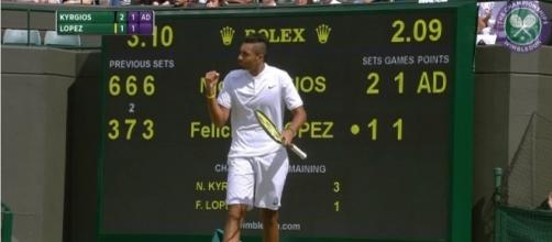 Nick Kyrgios during his third-round match against Feliciano Lopez at Wimbledon 2016. Photo - YouTube Screenshot/@Wimbledon