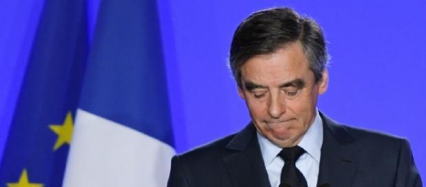 Le 1er mars 2017, François Fillon au siège du parti Les Républicains