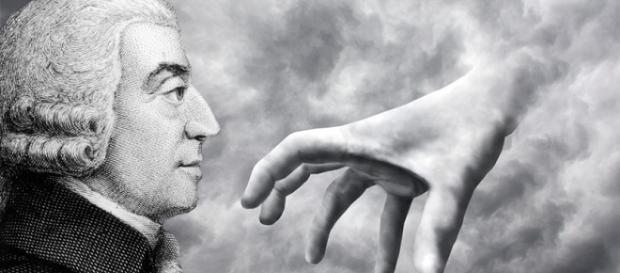 """Representação da """"Mão Invisível"""" retratada por Adam Smith."""
