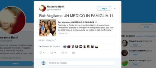 Il twitter di Rosanna banci che conferma la decisione della Rai