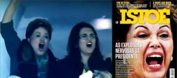 A foto de Dilma comemorando o gol da Copa/2014, virou a capa da revista, sendo usada para descrever distorcidamente outra coisa. ( Foto: Google)
