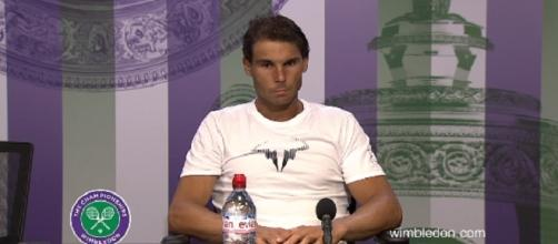 Rafael Nadal during a press conference at Wimbledon/ Photo: screenshot via Wimbledon official channel on YouTube