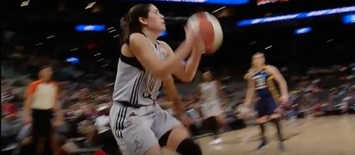 Rookie Kelsey Plum scored a career-high 16 points in today's San Antonio Stars' win. [Image via WNBA/YouTube]