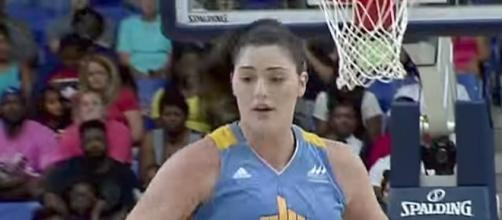 Stefanie Dolson's three-pointer late against the L.A. Sparks helped the Chicago Sky grab a two-point win. [Image via WNBA/YouTube]
