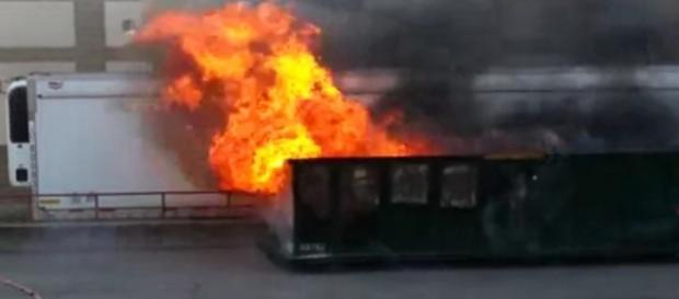 A dumpster fire in Brighton. / [Image Andy Dickason   YouTube]