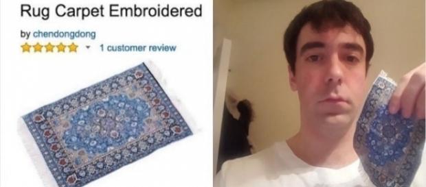 Este homem comprou um ''tapete'' online e se arrependeu (Foto: Reprodução/Twitter)