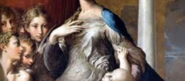"""""""The Madonna of the Long Neck"""" (detail) by Parmigianino FAIR USE pinterest.com Creative Commons"""