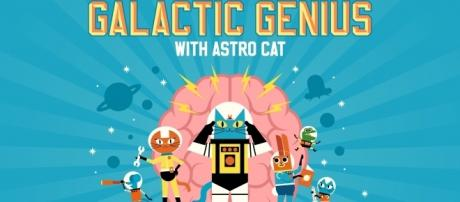 The 'Galactic Genius' game stars a character named 'Astro Cat.' / Photo via James D. Wilson and Lauren du Plessis, used with permission.