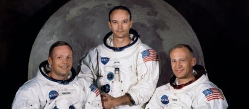 I primi uomini sulla luna: Armstrong, Collins, Aldrin.