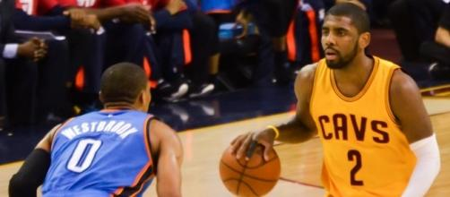 Kyrie Irving goes one on one with the reigning NBA MVP Russell Westbrook.