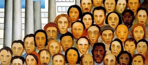 A imagem mostra a obra 'Os Opeários', de 1933, da artistaTarsila do Amaral. ( Imagem: Google)