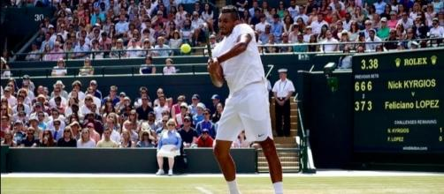 Nick Kyrgios returns a serve during Wimbledon 2016. Photo by Ryan Hurril, Flickr -- CC BY 2.0