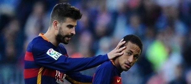 Neymar y Gerard Pique estrellas del Barcelona F.C.