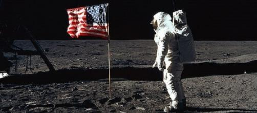 Buzz Aldrin salutes the flag on the moon. (NASA)
