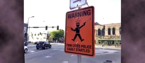 "Photo ""Twin Cities Police easily startled"" sign screen capture from YouTube/Viral Videos 24/7"