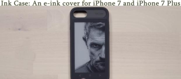 The Ink Case for iPhones is a second screen that goes on the back of your iPhone in the form of a case. [Image credit: Youtube/UnboxTherapy]