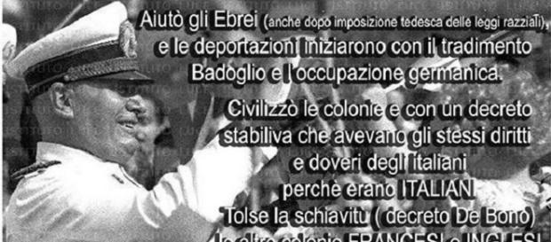 Una delle tante immagini che circolano sui social per esaltare la figura di Mussolini