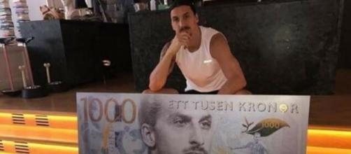 Ibra raffigurato sulle mille corone svedesi - account Twitter di Ibrahimovic.