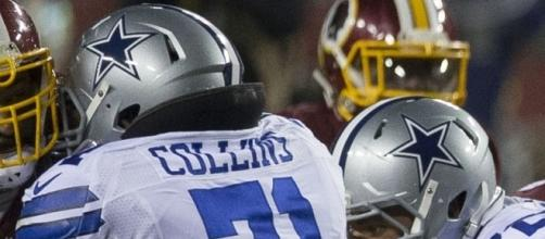 La'el Collins Cowboys at Redskins 12/7/15 by Keith Allison via Wikimedia Commons
