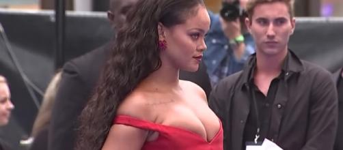 "Rihanna arrived in Paris for the ""Valerian"" red carpet premiere. Image via YouTube/ODE"
