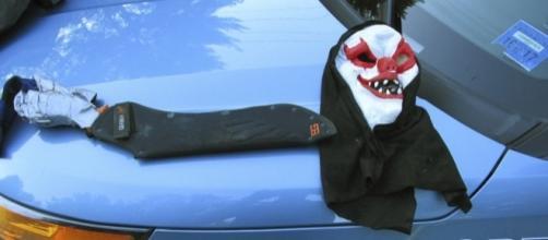 Photo creepy clown mask courtesy Maine State Police