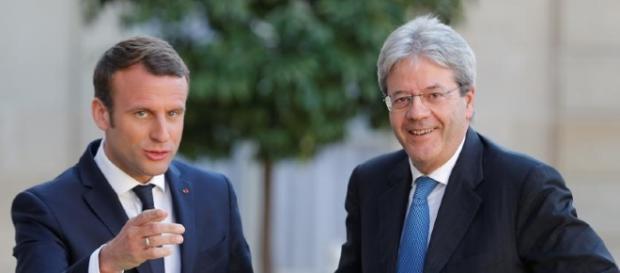 Il presidente francese Macron ed il premier italiano Gentiloni.
