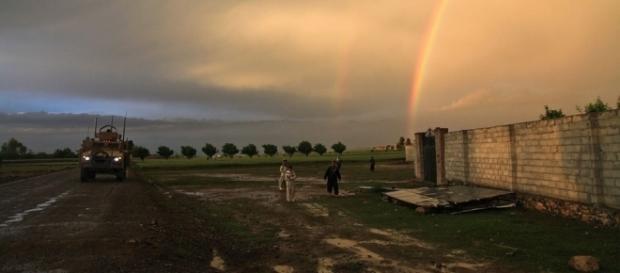 US army tank patrols the restive Afghan country side. https://pixabay.com/en/rainbow-double-rainbow-tank-60800/