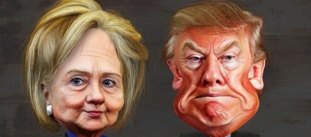 Donald Trump and Hillary Clinton caricatures via Flickr
