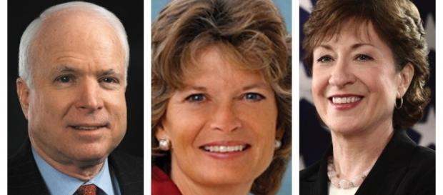 From left to right: Sen. McCain, Sen. Murkowski, and Sen. Collins / Photo via Wikipedia