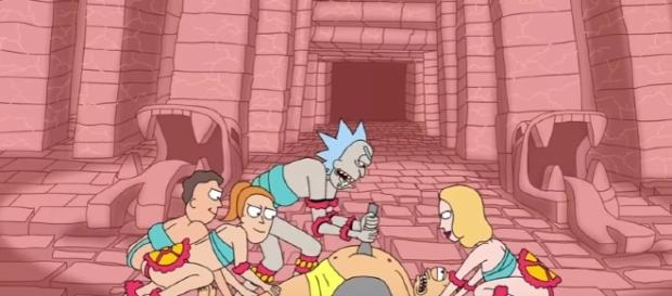 "Rick stabs Morty in a scene from ""Rick and Morty"" Season 3. (Photo:YouTube/Adult Swim)"