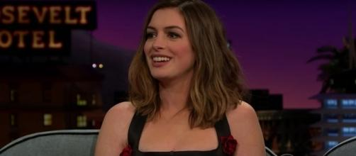 "Anne Hathaway is one of the front runners to star in the movie ""Barbie."" [Image Credit: The Late Late Show with James Corden/Youtube]"