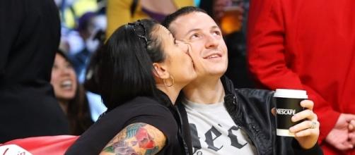 Chester Bennington's wife, Talinda Bentley, released a statement for the first time since his tragic death. Photo via Radio.com/YouTube