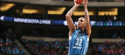 Rebekka Brunson scored 12 points to help the Lynx to a 90-80 win against Atlanta on Friday. [Image via WNBA/YouTube]