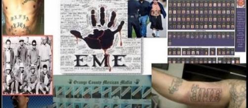 Image by Gang World Blog/YouTube screencap. Black hand denotes 'Mexican Mafia'