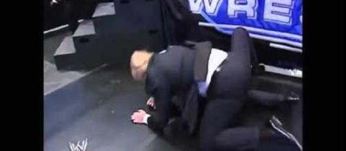 Trump wrestles McMahon in staged fight. Photo via flickx.ws, YouTube.