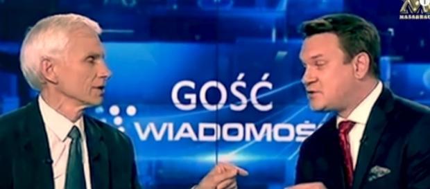 Marcin Święcicki i Dominik Tarczyński (źródło: TVP Info).