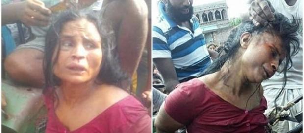 Mulher é espancada por aldeões na Índia (Foto: Reprodução)