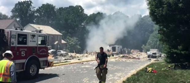 Photo gas explosion destroys home screen capture from Twitter video/Lancaster Fire Department