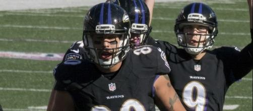 Baltimore Ravens tight end, Crockett Gillmore, in a game against the Atlanta Falcons on October 19, 2014 by Keith Allison via Wikimedia Commons