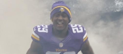 Xavier Rhodes - Minnesota Vikings in 2014 on Military appreciation day by Staff Sgt. Patrick Loch/Minnesota National Guard via Wikimedia Commons